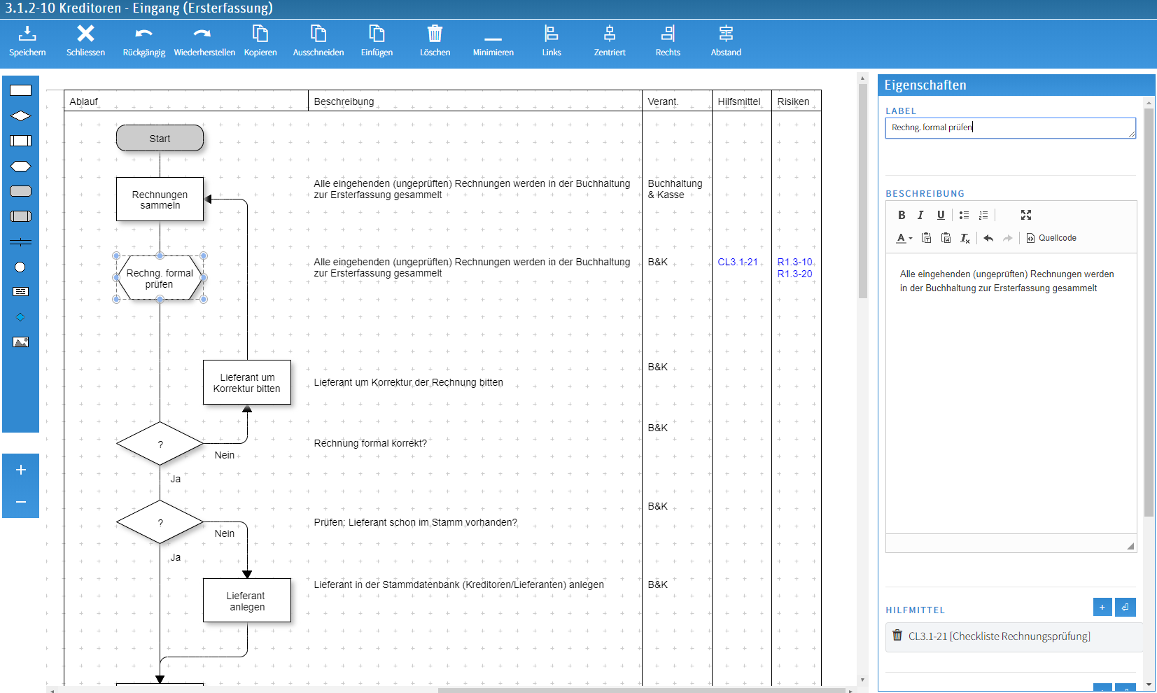 Process modeling in the QM Pilot Editor